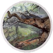 Round Beach Towel featuring the painting Spirit Tree by Sherry Shipley