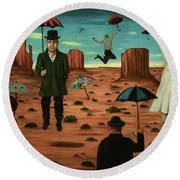 Spirits Of The Flying Umbrellas 3  Round Beach Towel