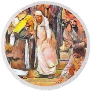 Round Beach Towel featuring the painting Spiritual Makeover by Wayne Pascall