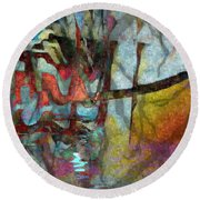 Round Beach Towel featuring the photograph Spirit Quest by Kathie Chicoine