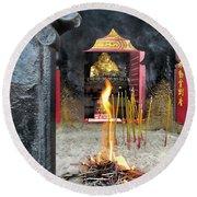 Spiritualistic Buddhism Round Beach Towel