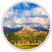 Castle Above The Village Round Beach Towel