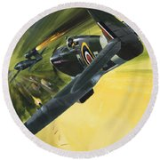 Spitfire And Doodle Bug Round Beach Towel by Wilf Hardy