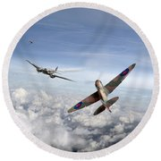 Round Beach Towel featuring the photograph Spitfire Attacking Heinkel Bomber by Gary Eason