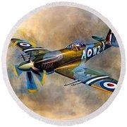 Spitfire Dawn Flight Round Beach Towel