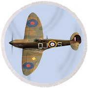 Spitfire Mk 1 R6596 Qj-s Round Beach Towel