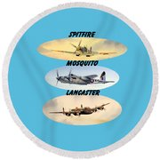 Round Beach Towel featuring the painting Spitfire Mosquito Lancaster Aircraft With Name Banners by Bill Holkham