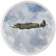Round Beach Towel featuring the digital art  Spitfire - Us Eagle Squadron by Pat Speirs