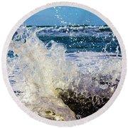 Wave Crash And Splash Round Beach Towel