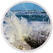 Wave Crash And Splash Round Beach Towel