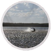 Round Beach Towel featuring the photograph Splash At Lake Wollumboola by Miroslava Jurcik