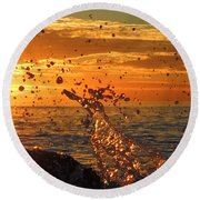 Round Beach Towel featuring the photograph Splash by Linda Hollis