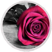 Splash Of Red Rose Round Beach Towel