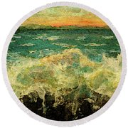 Splashing On Sea Wall Round Beach Towel