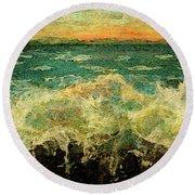 Splashing On Sea Wall Round Beach Towel by Rita Brown