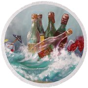 Splattered Wine Round Beach Towel