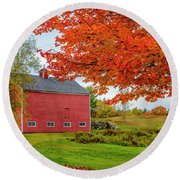 Splendid Red Barn In The Fall Round Beach Towel by Alana Ranney
