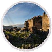Splendid Ruins Of St. Grigor Church In Karashamb, Armenia Round Beach Towel by Gurgen Bakhshetsyan