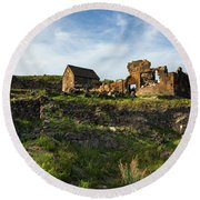 Splendid Ruins Of St. Sargis Monastery In Ushi, Armenia Round Beach Towel
