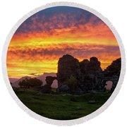 Splendid Ruins Of Tormak Church During Gorgeous Sunset, Armenia Round Beach Towel by Gurgen Bakhshetsyan