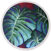 Split Leaf Philodendron Round Beach Towel by Phyllis Howard