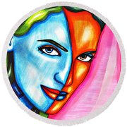 Split Personality Woman Abstract Drawing Round Beach Towel