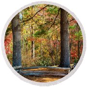Split Rail Fence And Autumn Leaves Round Beach Towel