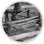 Round Beach Towel featuring the photograph Split Rail Fence by Eric Liller