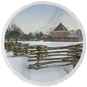 Split Rail Fence In Front Of Colonial Williamsburg Magazine Round Beach Towel