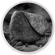 Round Beach Towel featuring the photograph Split Rock In Black And White At Joshua Tree National Park by Randall Nyhof