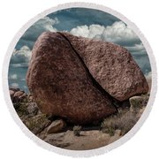 Round Beach Towel featuring the photograph Split Rock In Joshua Tree National Park by Randall Nyhof