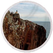 Round Beach Towel featuring the photograph Split Rock Island by James Peterson