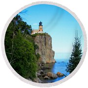 Split Rock Lighthouse Round Beach Towel