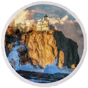 Round Beach Towel featuring the painting Split Rock Lighthouse by Christopher Arndt