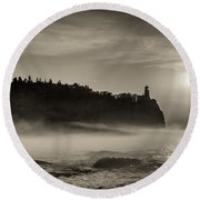 Split Rock Lighthouse Emerging Fog Round Beach Towel