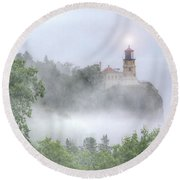 Split Rock Lighthouse Lake Superior North Shore Round Beach Towel