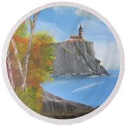 Split Rock Lighthouse Minnesota Round Beach Towel by Thomas Janos