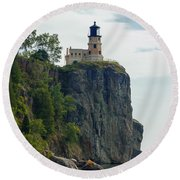 Split Rock Lightouse Round Beach Towel by Penny Meyers