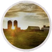 Split Silo Sunset Round Beach Towel