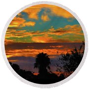 Split Sunset Round Beach Towel