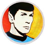 Round Beach Towel featuring the painting Spock Vulcan Star Trek Pop Art by Bob Baker