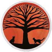 Spooky Cat Tree Round Beach Towel
