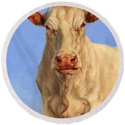 Spooky Cow Round Beach Towel