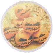 Spooky Halloween Oranges Round Beach Towel