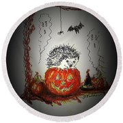 Spooky Hedgehog Halloween Round Beach Towel