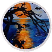 Spooky Hollow - Painting Round Beach Towel