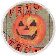 Spooky Pumpkin 1 Round Beach Towel