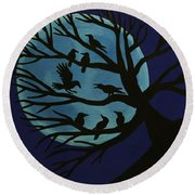 Spooky Raven Tree Round Beach Towel