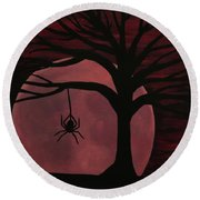 Spooky Spider Tree Round Beach Towel