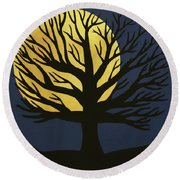 Spooky Tree Yellow Round Beach Towel